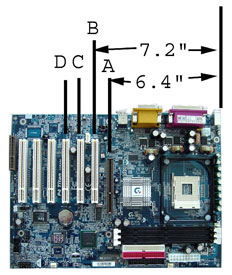 Motherboard diagram for Riser Cards. PCI / agp Ribbon Riser Cards. 1u riser card, 2u riser card, 4u riser card, 1u agp riser card
