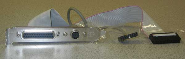 PS/2 and Printer port on an extension bracket, 18 pin and 26 pin headers,