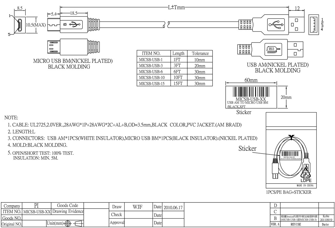 Interloper 3ft USB 2.0 A (M) to Micro-USB B (M) Cable - Black