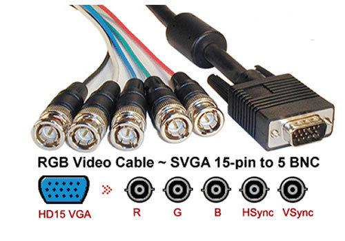 6Ft (6 Feet) Coaxial HD15 VGA to 5 BNC RGBHV