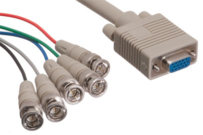 5 BNC Male to HD15 VGA Female Adapter Cable