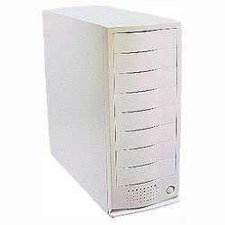 Eight bay external case for scsi drives, comes with dual redundant 300 Watt Power Supplies
