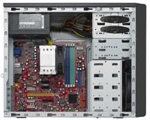 mini tower case, black, entry level, barebone computer,