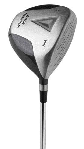power play keel beta titanium driver, low torque, graphite shaft, senior flex, regular flex, stiff flex