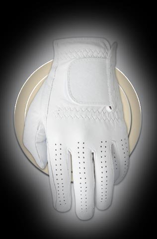 white all cabretta leather golf glove, plain, no logo,