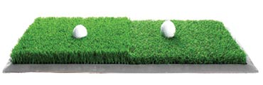 dual turf practice mat simulates fairway lies as well as rough lies