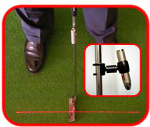 Putting laser line - The laser line will extend from the putter face several feet toward the cup. Learn to make every six-footer.
