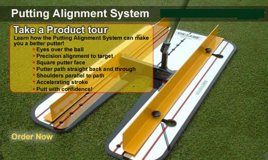 Square to Square Putting System - you can quickly groove a straight back and through stroke (Dave Pelz Method).  , putting rails, putting track
