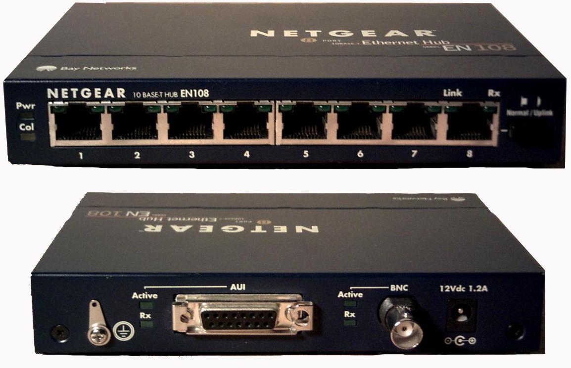 Netgear EN108 with BNC connector, 8 port hub with bnc / aui port