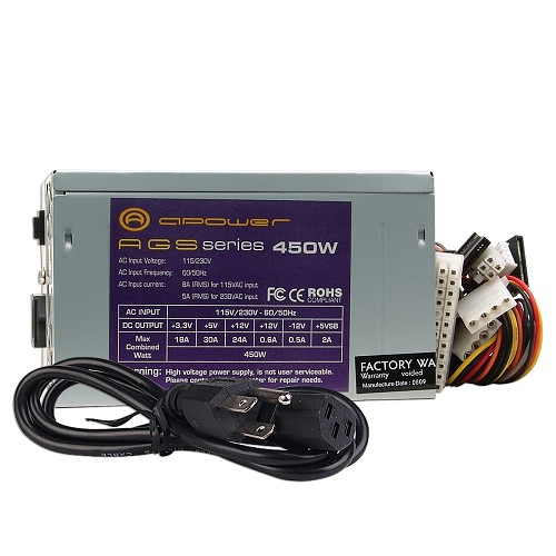 450 watt atx power supply with sata support, AGS450