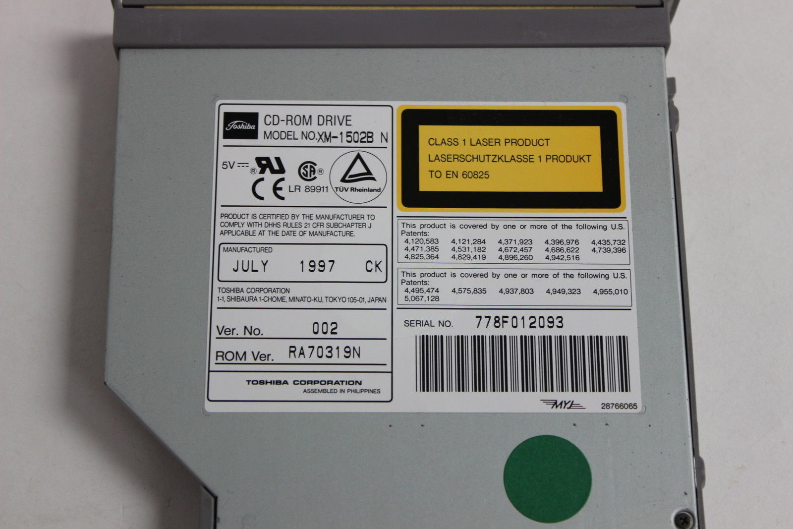 Toshiba XM-1502B N laptop cd-rom drive