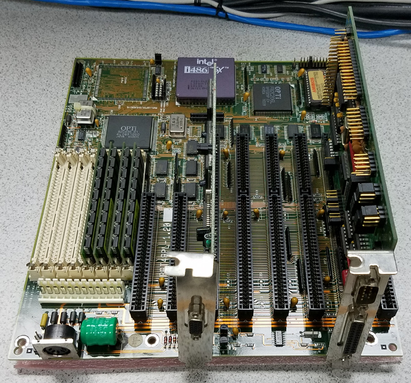 486 Motherboard with 8 ISA slots, CPU, Memory, IDE controller card and ISA Video card